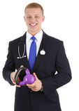 Doctor with weight Royalty Free Stock Images