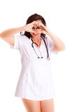 Doctor on white background medical staff nurse. Doktor medical healthcare girl sign heart worker in hospital person womal health medicine concept smile emotion royalty free stock photos
