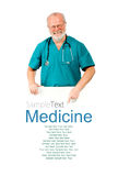 Doctor with white banner Stock Image