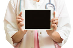 Doctor in white coat showing blank digital tablet pc Stock Images