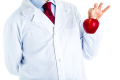 Doctor in white coat showing a red apple Royalty Free Stock Photo