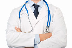 Doctor in white coat with a stethoscope Stock Photography
