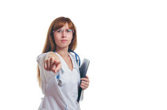 The doctor in a white dressing gown with the black folder Stock Photo