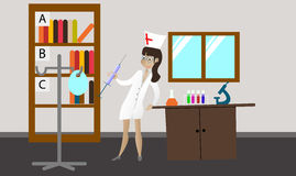 Doctor in white hospital gown in workplace with office medical equipment, objects. Vector flat illustration. Doctor in office workplace with several things Stock Photo