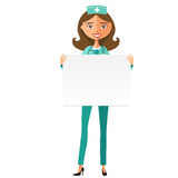 Doctor with whiteboard for presentation flat cartoon vector illustration stock illustration
