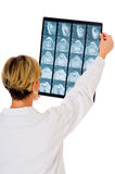 Doctor who examines an x-ray NMR Royalty Free Stock Photo
