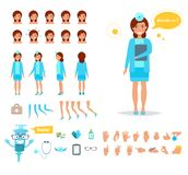 Doctor woman for animation. Poses front, rear, side, three quarter. Creation set. Collection of emotions. Vector. Cartoon. Isolated art on white background Royalty Free Stock Photo