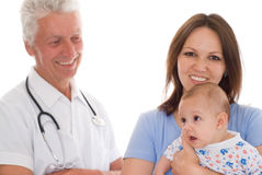 Doctor and a woman with baby Stock Photography