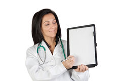 Doctor woman with blank clipboard Stock Photography