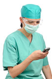 Doctor woman with cell phone Royalty Free Stock Photo