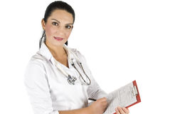 Doctor woman with clipboard Royalty Free Stock Photography