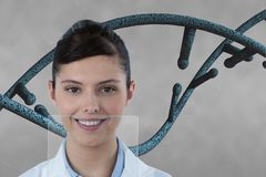 Doctor woman with 3D DNA strand against grey background Stock Image