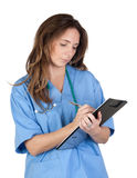 Doctor woman doing report Stock Images