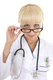 Doctor woman with glasses and stethoscope Stock Photos
