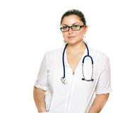 Doctor woman in glasses with stethoscope Royalty Free Stock Photos