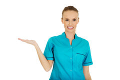 Doctor woman hand showing something on palm. Royalty Free Stock Photo