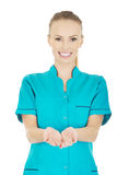 Doctor woman hand showing something on palms. Stock Image