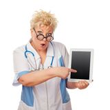 Doctor woman holding tablet computer Royalty Free Stock Image