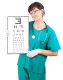 Doctor woman keeping optometry chart Stock Image