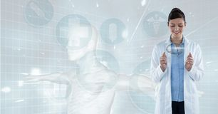 Doctor (woman) looking the photography of a brain stock image