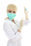 Doctor woman in mask over white Stock Photos