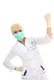 Doctor woman in medical mask and rubber gloves. Doctor woman in mask and rubber gloves isolated over white Royalty Free Stock Photo