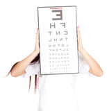 Doctor woman with optometry chart Royalty Free Stock Photo