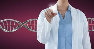 Doctor woman pointing with 3D DNA strand. Digital composite of Doctor woman pointing with 3D DNA strand Stock Photography