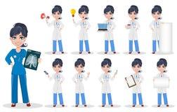 Doctor woman, professional medical staff, set. Beautiful cartoon character medic. Vector illustration vector illustration