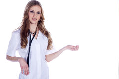 Doctor woman in the salutation Royalty Free Stock Images