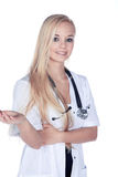 Doctor woman in the salutation Stock Photography