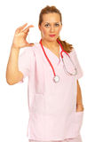 Doctor woman showing bottle with pills royalty free stock photo