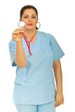 Doctor woman showing stethoscope Stock Photo