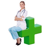 Doctor woman. sit on the cross. Worker, medicine Royalty Free Stock Photo