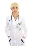Doctor woman with stethocsope over white Stock Photography