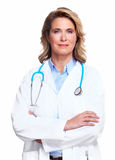 Doctor woman with a stethoscope. Isolated on white background Stock Photo