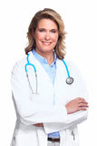 Doctor woman with a stethoscope. Isolated on white background Royalty Free Stock Photography