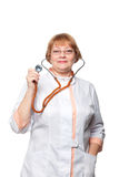 Doctor woman with a stethoscope. Isolated on white Royalty Free Stock Image