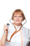 Doctor woman with a stethoscope. Isolated on white Stock Photography