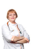 Doctor woman with a stethoscope. Isolated on white Royalty Free Stock Photography