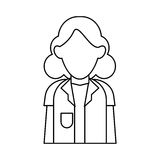 Doctor woman stethoscope medical professional outline vector illustration