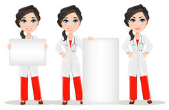 Doctor woman with stethoscope. Set. Cute cartoon smiling doctor character in medical gown Royalty Free Stock Image