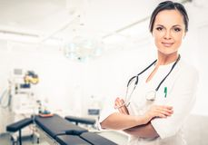 Doctor woman in surgery room Royalty Free Stock Images