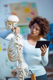 Doctor woman teaching anatomy using human skeleton model Stock Photos