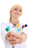 Doctor woman with test-tubes Stock Photo