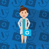 Doctor woman with uniform standing holding kit first aid medical background. Vector illustration Royalty Free Stock Images