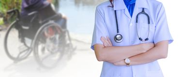Doctor woman wearing white medical uniform with stethoscopes iso stock photography