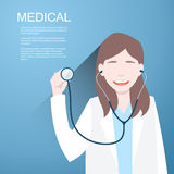 Doctor women with a stethoscope in the hands on  background. Vector illustration Stock Images