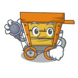 Doctor wooden trolley character cartoon. Vector illustration vector illustration