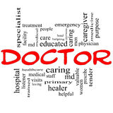 Doctor Word Cloud Concept in red and black Royalty Free Stock Photography